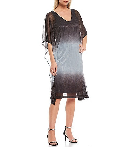 Marina V-Neck Metallic Ombre Shift Dress