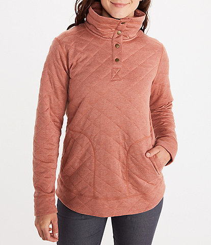 Marmot Roice Long Sleeve Buttoned Stand Collar Quilted Pullover