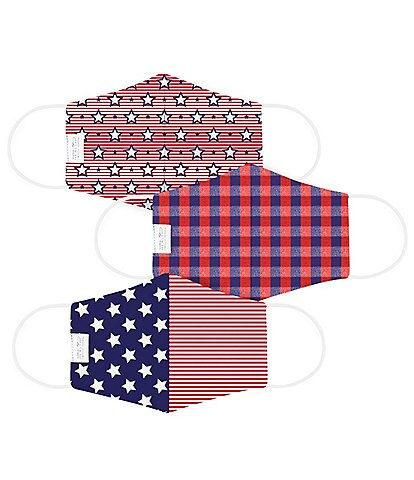 Martex Health OEKO-TEX & Triple Layer with SILVERbac™ Antimicrobial Technology Star-Spangled Cloth Face Mask 3-Piece Set