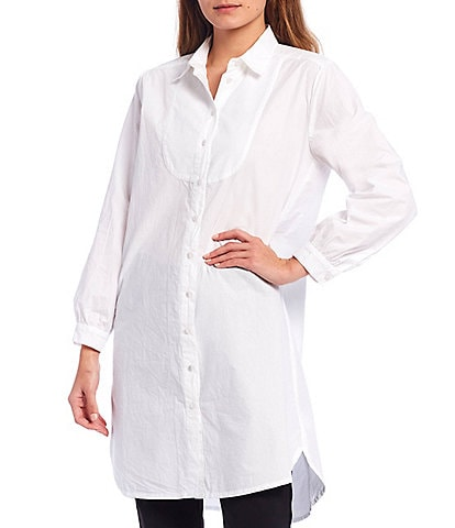 Masai Collared Long Sleeve Cotton Tunic Style Shirt Dress