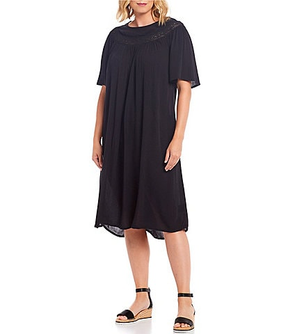 Masai Nena Gathered Yoke Short Sleeve Crinkled Viscose Dress