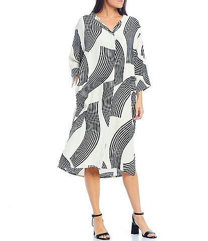 Masai Nimes 3/4 Sleeve Button Front Graphic Print Midi Dress with Pockets