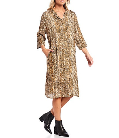 Masai Nimes Round Neck 3/4 Sleeve Chevron Print Crinkled Midi Dress
