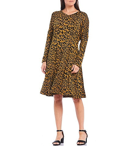 Masai Noa V-Neck Long Sleeve Leopard Print Jersey Dress
