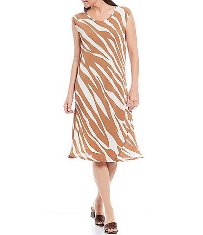 Masai Una Zebra Print Cap Sleeve Crepe Shift Dress