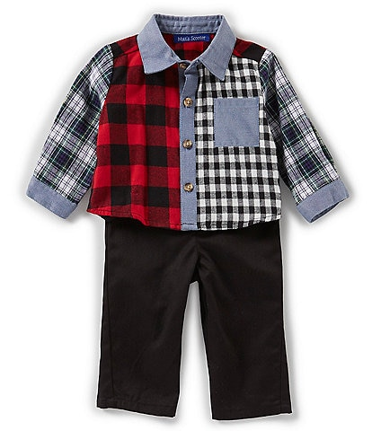 Matt's Scooter Baby Boys Newborn-24 Months Mash-Up Flannel Shirt & Twill Jogger Set