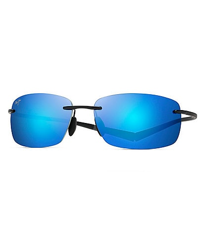 Maui Jim Kumu Polarized Blue Mirrored Rimless Sunglasses