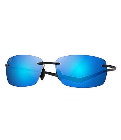 Maui Jim Kumu Polarized Blue Mirrored Rimless Sunglasses