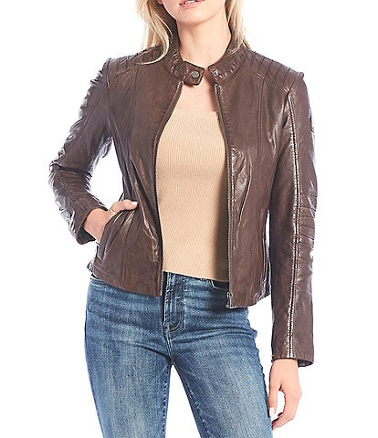 Mauritius Snap Stand Collar Front Zip Lampskin Leather Jacket