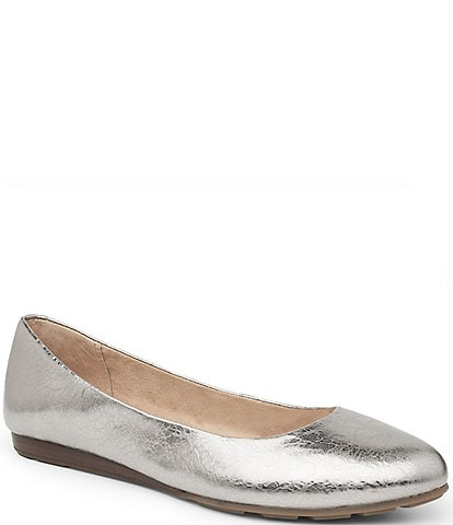 Me Too Alina5 Metallic Leather Sliver Wedge Flats