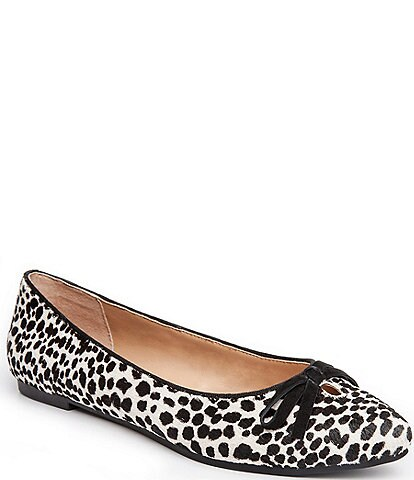 Me Too Alondra Cheetah Print Haircalf Bow Detail Slip-On Flats