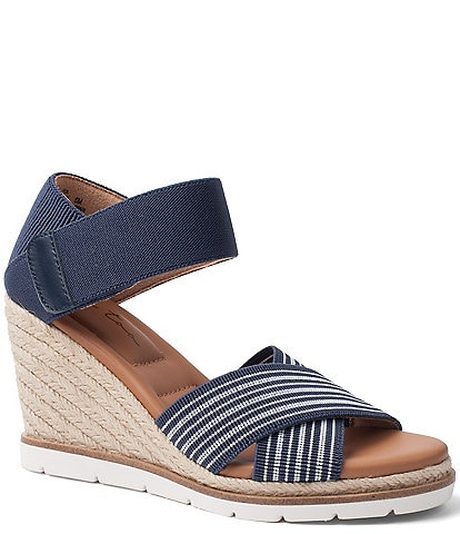 Me Too Gia Striped Elastic Criss Cross Wedge Espadrilles