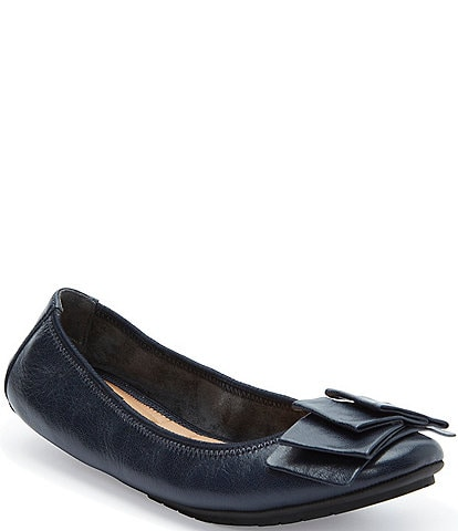 Me Too Lilyana Pleated Bow Detail Leather Ballet Flats