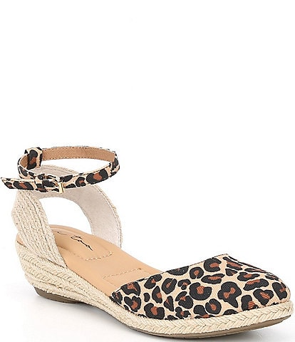 Me Too Norina Leather Leopard Wedge Espadrilles