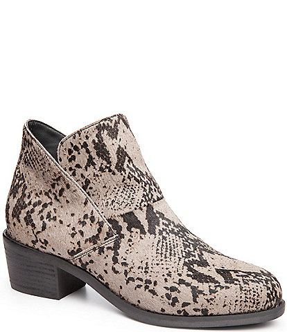 Me Too Zest Snake Print Calf Hair Block Heel Ankle Booties
