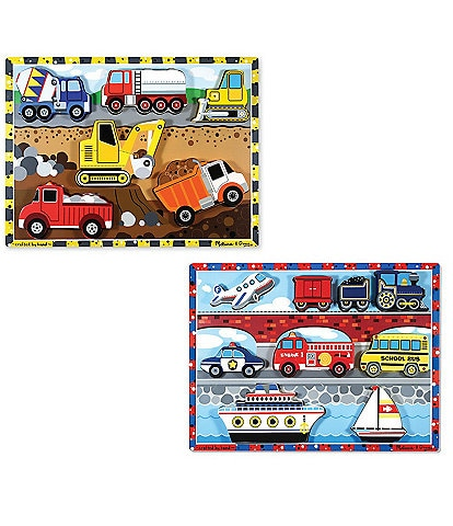 Melissa & Doug Chunky Vehicles & Construction Puzzle Bundle Set