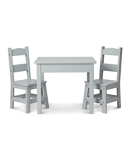 Melissa & Doug Kids Wooden Table & 2 Chairs - Gray