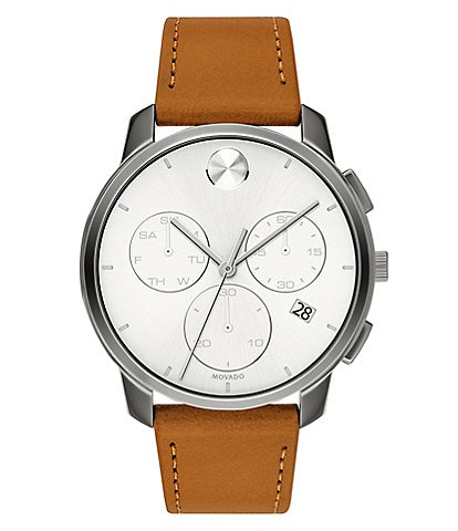 Movado Bold Men's Thin Brown Leather Watch