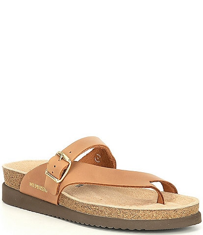 Mephisto Helen Buckle Detail Textured Leather Casual Sandals