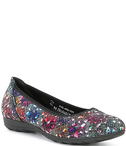 Mephisto Emilie Multi Print Leather Ballet Flats