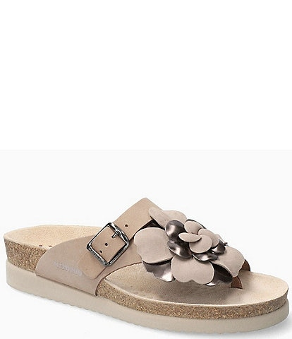 Mephisto Helen Flower Buckle Detail Leather Casual Sandals
