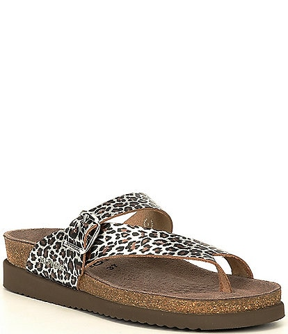 Mephisto Helen Leopard Leather Buckle Detail Casual Sandals