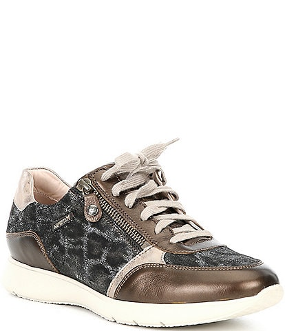Mephisto Monia Leather Zipper Oxford Water Resistant Sneakers
