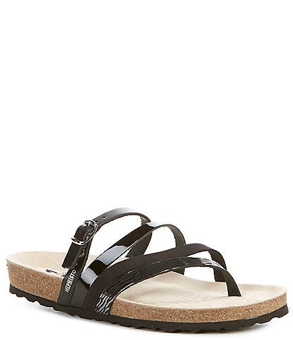 Mephisto Natty 4 Band Mixed Patent Leather Thong Slide Sandals