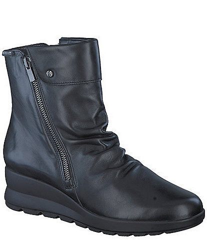 Mephisto Phila Leather Slouch Wedge Booties