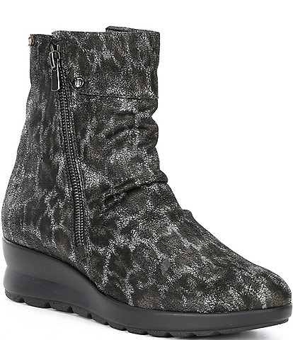 Mephisto Phila Leopard Print Leather Slouch Zip Wedge Booties