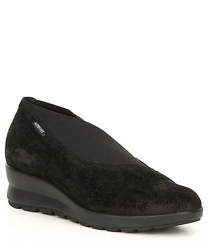 Mephisto Slip On Suede & Elastic Wedge