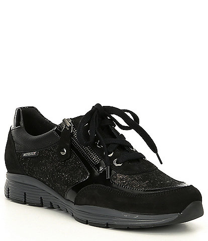 Mephisto Ylona Metallic Leather Zip Sneakers