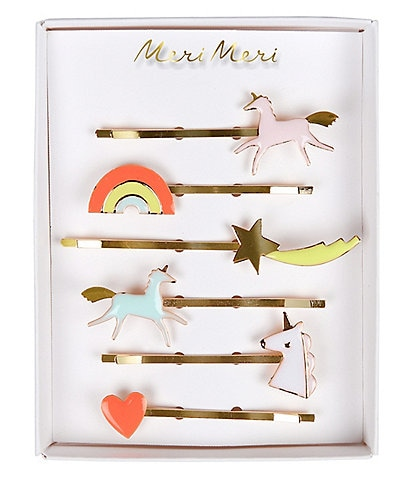 Meri Meri Girls Unicorn Rainbow Star & Heart Hair Clip Set