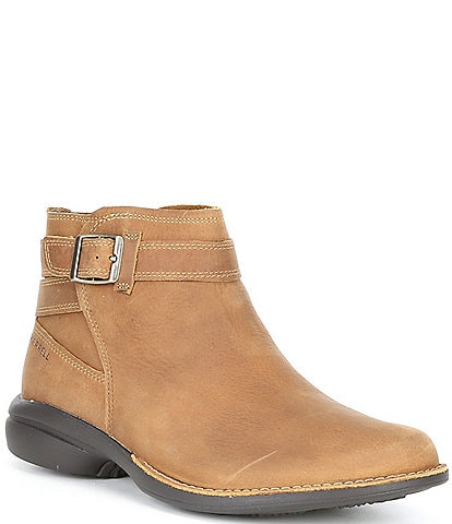 Merrell Andover Bluff Waterproof Leather Buckle Strap Detail Ankle Booties