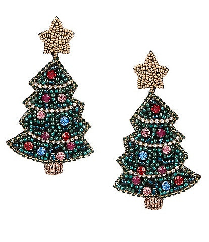 Merry & Bright Beaded Christmas Tree Earrings