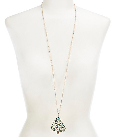 Merry & Bright Christmas Tree Pendant Necklace