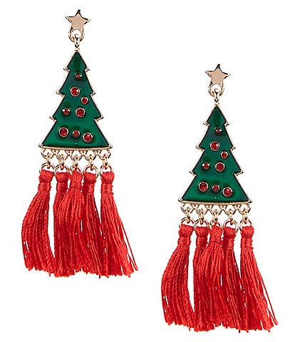 Merry & Bright Christmas Tree Tassel Drop Earrings