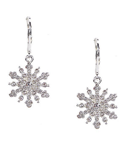 Merry & Bright Crystal Pave Snowflake Drop Earrings