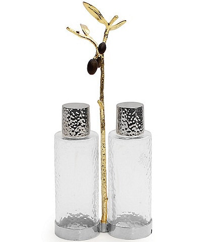 Michael Aram Olive Branch Oil & Vinegar Bottle Caddy Set