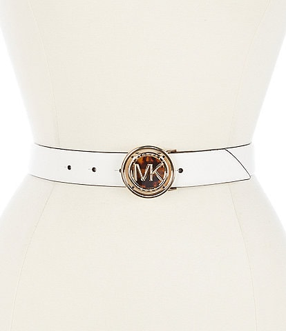 Michael Kors 1.25#double; Tortoise Buckle Leather Jean Belt