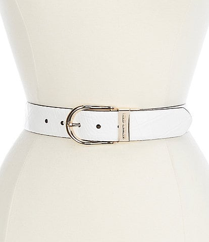 Michael Kors 1.5#double; Crocodile Embossed to Smooth Leather Jean Reversible Belt