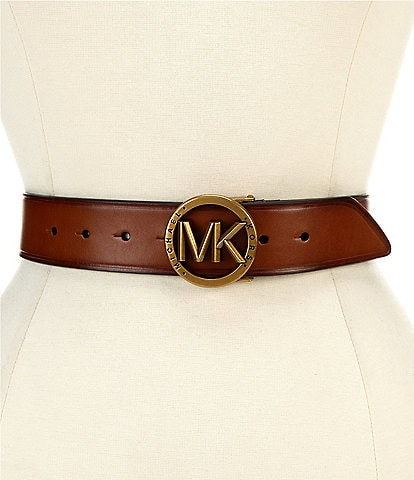 Michael Kors 1.5#double; Burnished Logo Buckle Belt