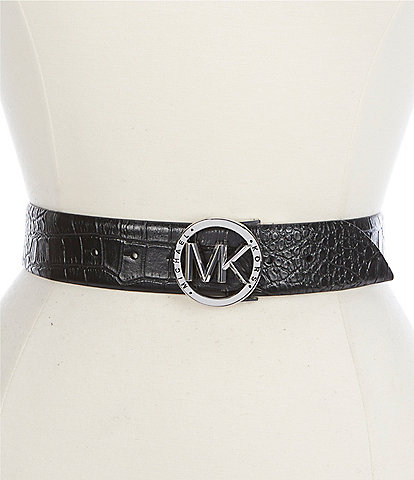 Michael Kors 1.5#double; Reversible Crocodile and Signature Belt