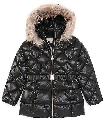 Michael Kors Big Girls 7-16 Snow Ski Long-Sleeve Belted Hooded Faux-Fur Trim Quilted Puffer Jacket