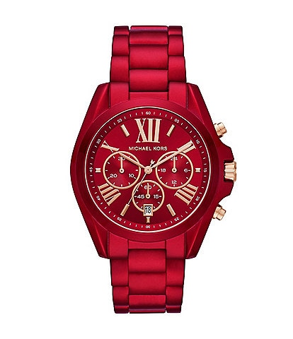 Michael Kors Bradshaw Chronograph Red Coated Stainless Steel Watch