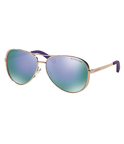 Michael Kors Chelsea Flash Mirror Metal Aviator Sunglasses