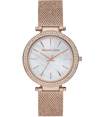 Michael Kors Darci Three-Hand Rose Gold Crystal Watch