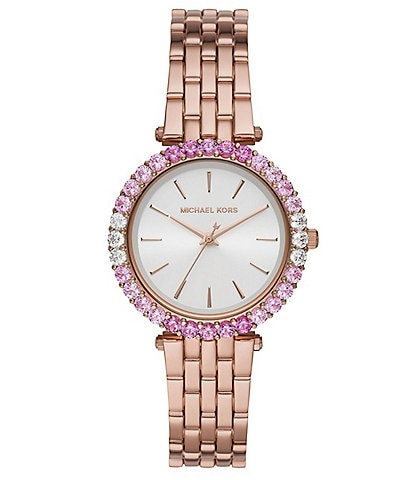 Michael Kors Darci Pink Glitz Three-Hand Rose Gold-Tone Stainless Steel Watch
