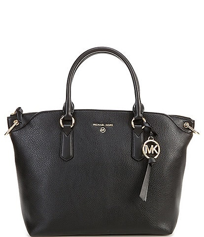 Michael Kors Elsa Large Embossed Leather Convertible Satchel Bag
