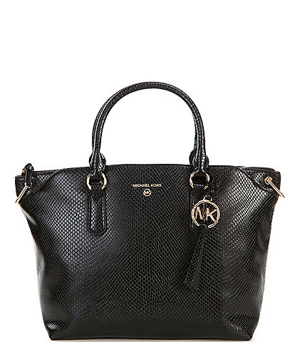 Michael Kors Elson Python Embossed Large Convertible Satchel Bag